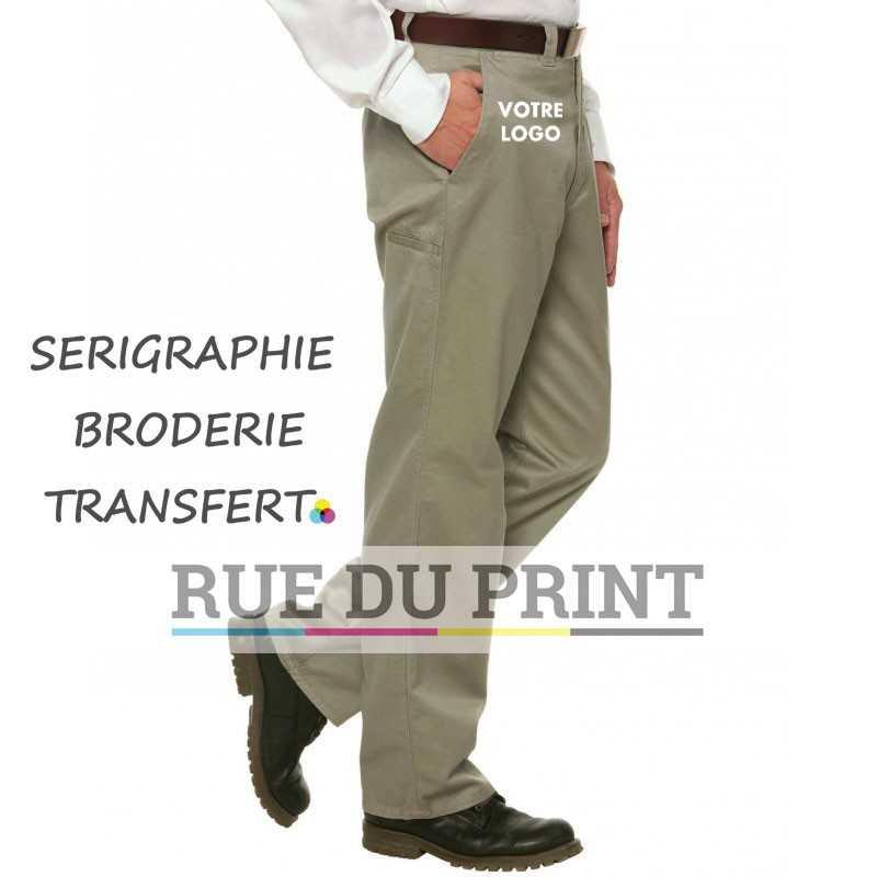 Pantalon publicitaire classique Carson 100% coton peigné prérétréci sans pli 5 poches poches boutonnées à l arrière