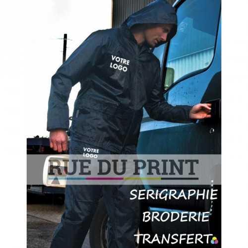 Pantalon publicité et veste de pluie 100% polyester (190 T) enduit PU coutures soudées, résiste au vent et waterproof (2.000 mm