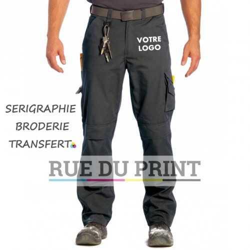 Pantalon publicité de travail basique 65% polyester, 35% coton sergé avec renforts en Cordura, 245 g/m2