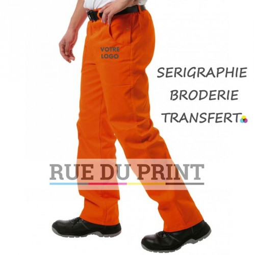 Pantalon publicité avec genoux renforcés 100% coton prérétréci, 285 g/m2 qualité drill (coutil). Pantalon élastiqué en haut et