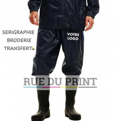 Pantalon publicité de pluie 2 80 g/m² 100% polyester (tissu léger Isolite) Waterproof, résiste au vent et respirant