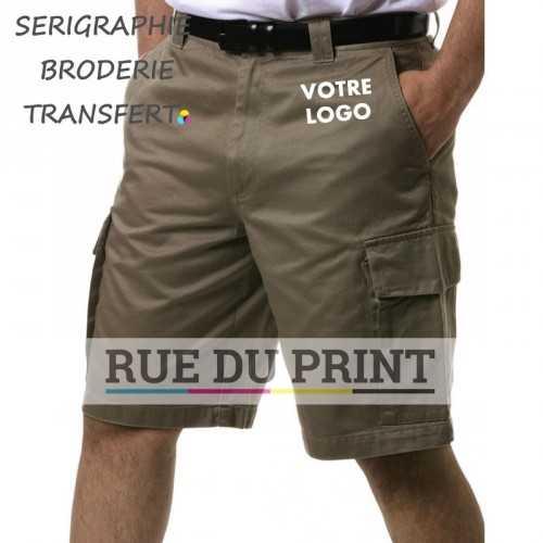 Short Classique Cargo publicité 100% coton peigné, 280 g/m2 prérétréci