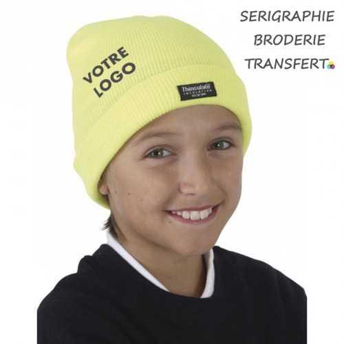 Chapeau personnalisé avec logo enfant 3M Thinsulate® 100% acrylique (toucher doux), 40 g/m² doublure 3M Thinsulate® (en Beige)