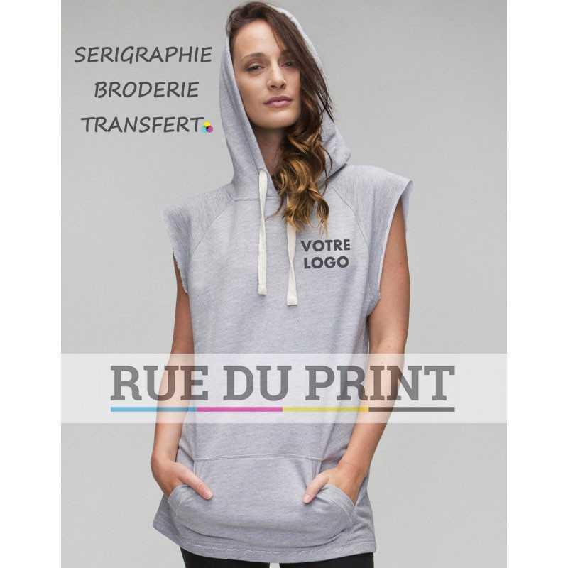 Sweat shirt publicité femme sans manches 280 g/m² 80% coton, 20% polyester (french terry) capuche non doublée