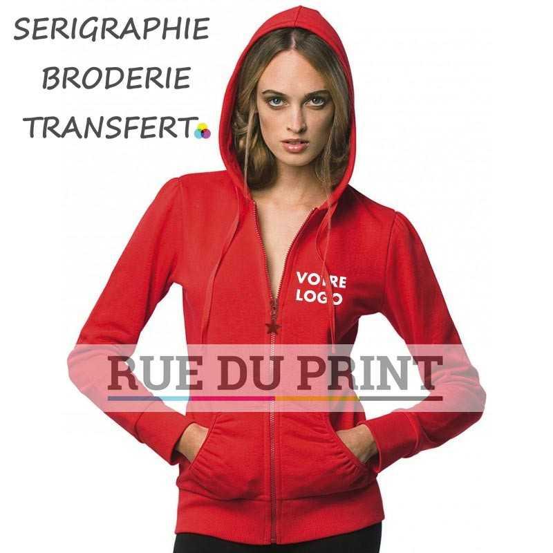 Sweat shirt publicité femme 280 g/m² 80% coton ringspun, 20% coton polyester capuche doublée avec cordon