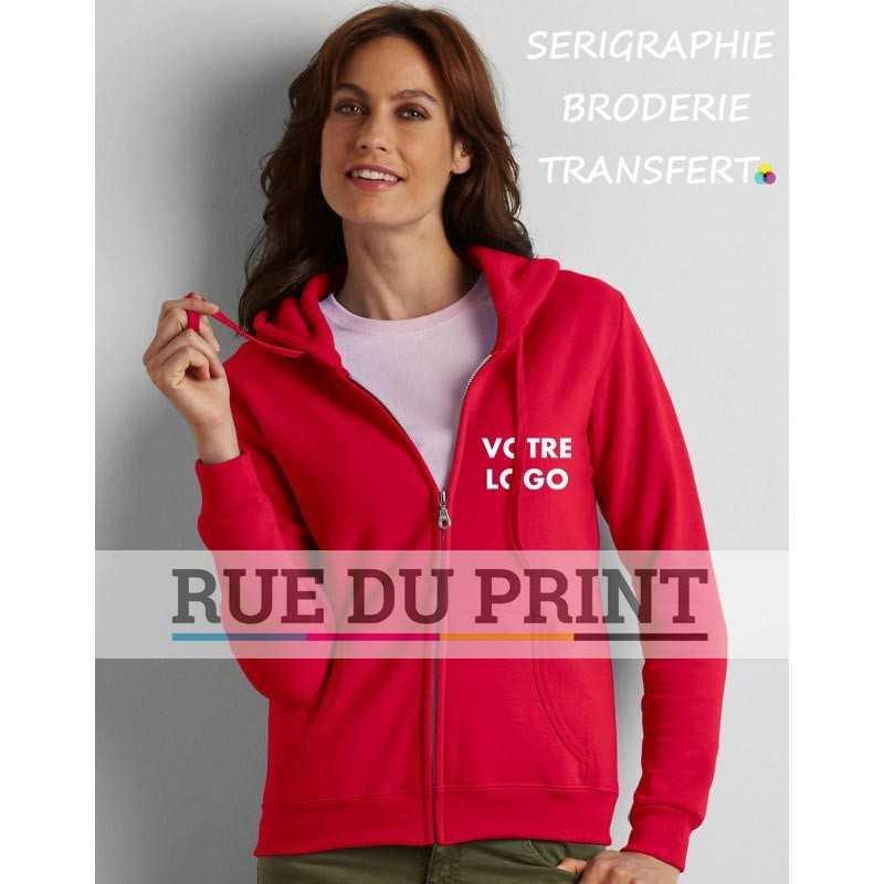 Sweat shirt publicité femme Gildan 255-270 g/m² 50% Coton, 50% Polyester prérétréci le fil air jet apporte plus de douceur et