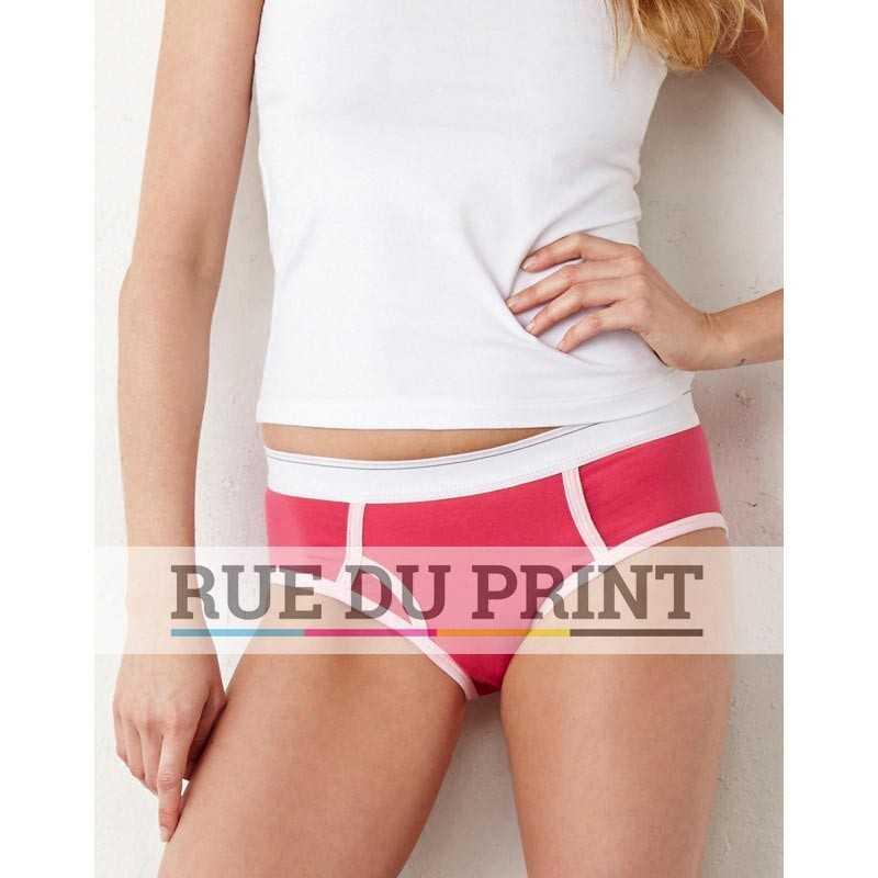 Culotte publicité Coton Spandex 220 g/m² 95% coton peigné ringspun, 5% spandex bord élastique et biais contrasté