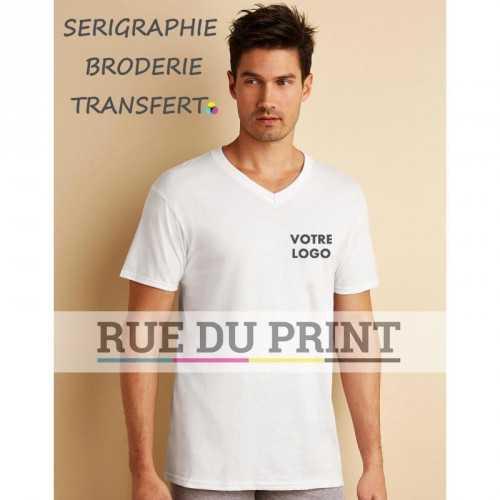 T-shirt publicité homme col V 100% coton ringspun (maille jersey) col en V bande de propreté