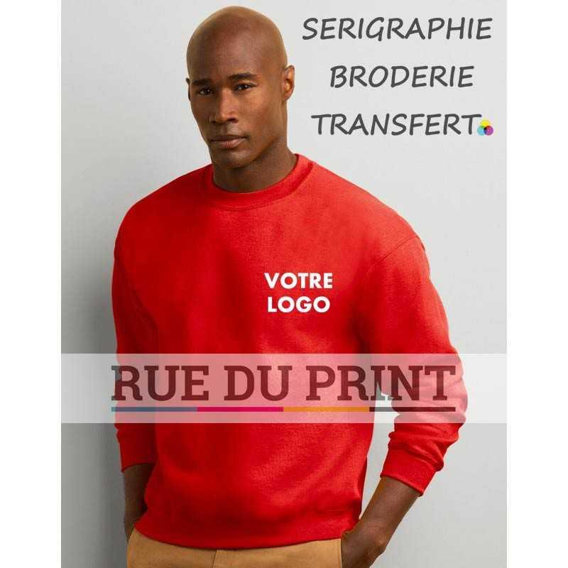 Sweatshirt publicité col en bord côte 325 g/m2 (White: 306 g/m2) 50% coton, 50% polyester open end manches montées325 g/m2 (Wh