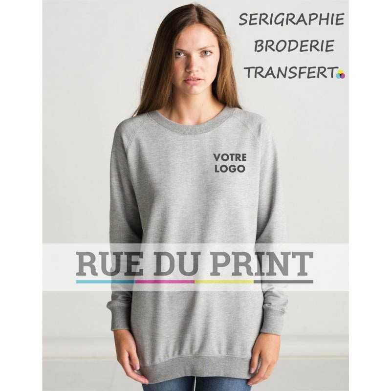Sweat publicité long femme 280 g/m² 80% coton, 20% polyester French Terry
