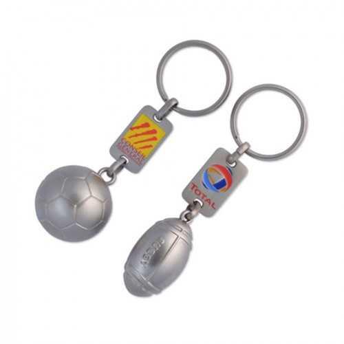 Porte-clés ballon foot ou rugby 3D