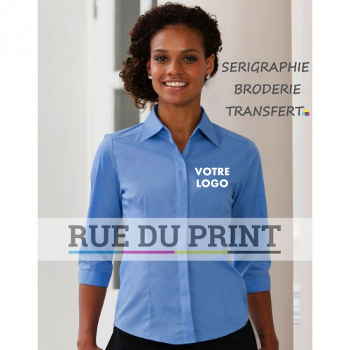 Chemise manches 3/4 Poplin