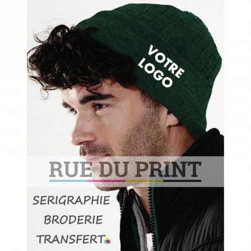 Bonnet personnalisé vert avec logo Thinsulate™ 100% polyacrylique (toucher doux) maille doublée