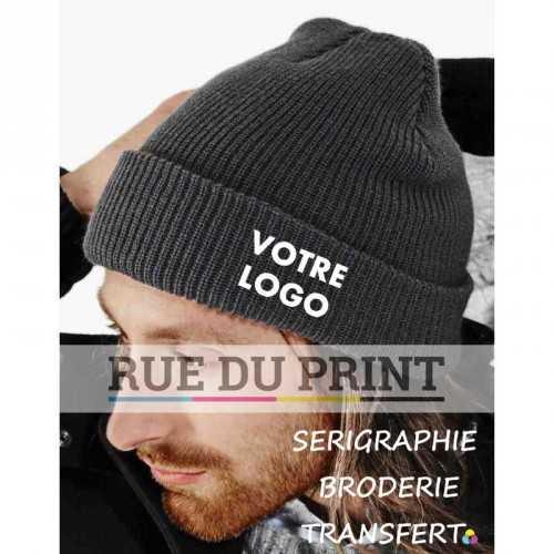 Bonnet publicitaire gris avec logo Heritage 100% polyacrylique (toucher doux) maille doublée