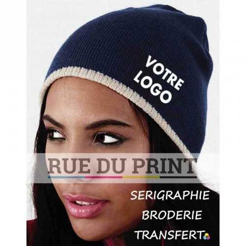 Bonnet personnalisé avec logo deux teintes 100% polyacrylique (toucher doux) Graphite Grey-Black / Black-Stone / French Navy-Sto
