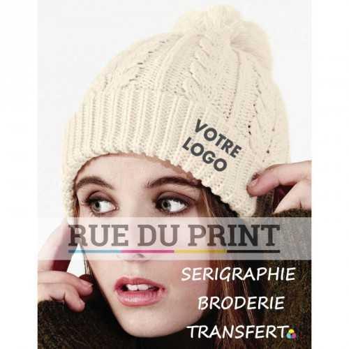 Bonnet personnalisable blanc avec logo Snowstar 100% acrylique maille dense style classique