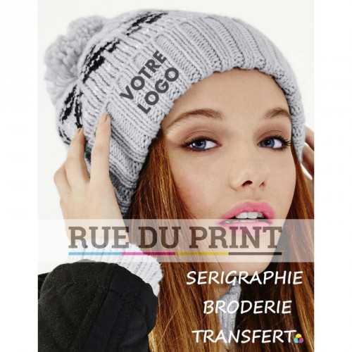 """Bonnet publicité Gris Clair-Noir-Blanc Cassé avec logo Classique Snowstar 100% acrylique motif """"Fair Isle"""""""