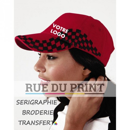 Casquette publicité Grand Prix 100% coton (drill) 5 panneaux oeillets échiquier brodé