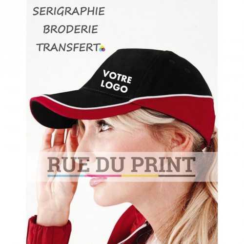 Casquette publicité compétition Teamwear 100% coton brossé (drill) 5 panneaux oeillets design couleur contrasté