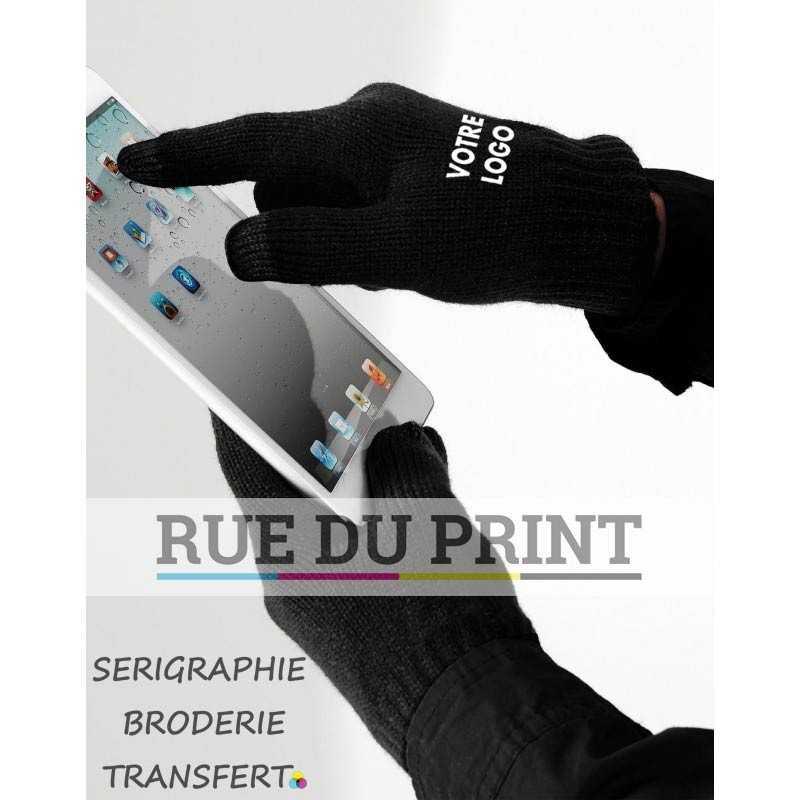 Gants publicités pour écran tactile 100% polyacrylique (toucher doux) compatible avec smartphones etc doigts et pouces tactile