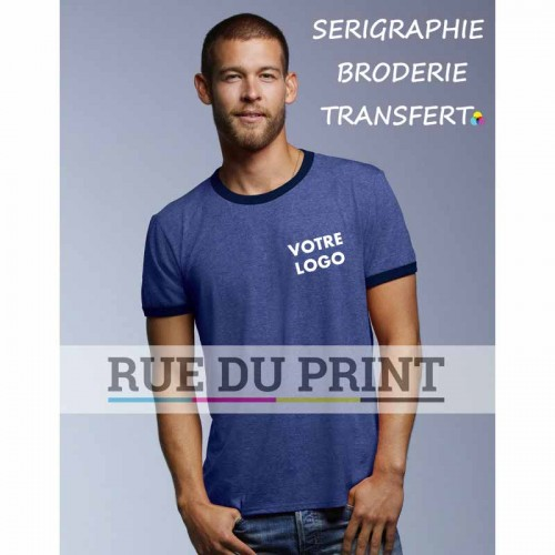 Tee-shirt publicité bleu marine profil basic Fashion Adulte couleurs: 100% coton peigné ringspun, couleurs heather: 60% polyeste