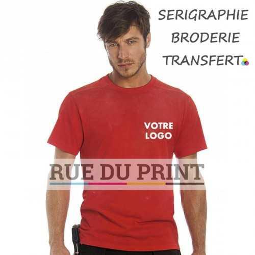 Tee-shirt publicité rouge profil demi-lune 185 g/m2 100% coton simple jersey bord côte au col