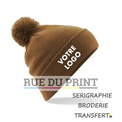 Bonnet publicitaire marron double couche Original 100% acrylique (soft-touch)