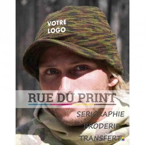 Bonnet publicité avec logo Esco Armée 90 g/m² 100% poly-acrylique tricot doux double épaisseur