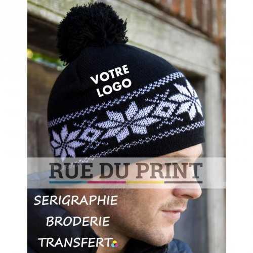 Bonnet publicité Black-White avec logo Iles 180 g/m² 100% acrylique large pompon
