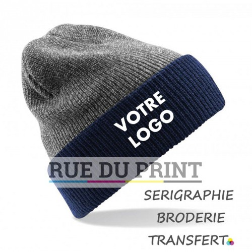 Bonnet publicité Heather Grey-French Navy avec logo Reversible Heritage 100% acrylique (soft-touch)