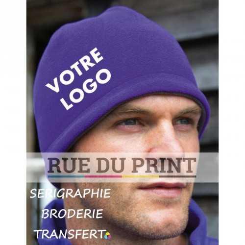 Bonnet publicité Purple-Charcoal avec logo près crâne Reversible 100% polyester (polaire, léger) Extrêmement chaud