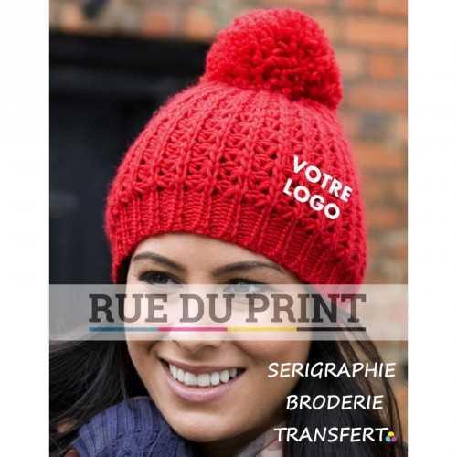 Bonnet publicité rouge avec logo pompom unisexe 100% Acrylique, tricot doux pompon assorti