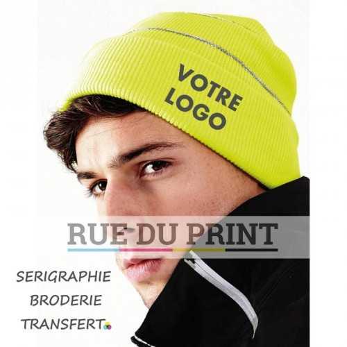 Bonnet publicité Fluorescent Yellow avec logo avec bandes réfléchissantes 100% polyacrylique (toucher doux) bandes réfléchissan