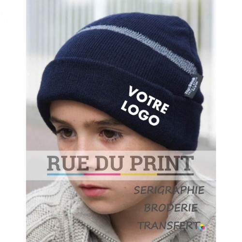 Bonnet publicité Navy avec logo enfant ski 340 g/m2 100% acrylique isolation 3M Thinsulate™