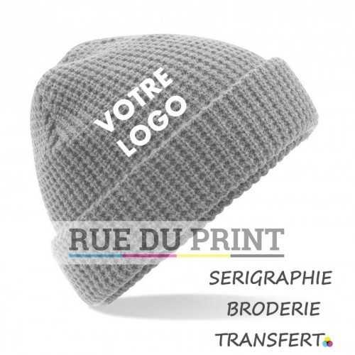 Bonnet publicité Light Grey avec logo Classic 100% acrylique (soft-touch) Tricot double couche
