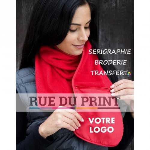 Echarpe publicité avec poche 280 g/m2 polaire 100% polyester anti-peluche