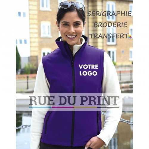 Veste publicité femme sans manches Slim 280 g/m² 100% polyester (2 couches) ext: sans élasthanne, tissu extensible int: micro