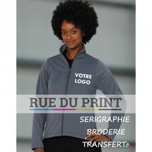 Gilet publicité femme DWR 315 g/m² 100% polyester ext, microfleece int offre une grande respirabilité ainsi qu'une bonne prote
