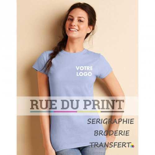 Tee-shirt publicité bleu clair profil femme Softstyle® 150 g/m² (White: 141 g/m²) 100% coton ringspun jersey (Sport Grey & tou
