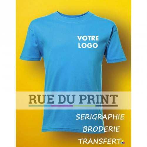 Tee-shirt publicité turquoise face enfant 150 g/m2 (White: 145 g/m2) 100% coton à fil de chaîne continu (Ash Grey: 99% coton, 1