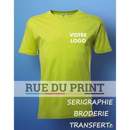 Tee-shirt publicité citron vert face manches set-in enfant 180 g/m2 (White: 175 g/m2) 100% coton à fil de chaîne continu (Ash G