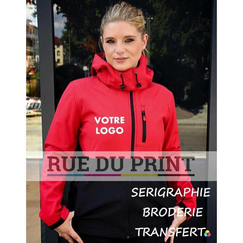 Veste publicité femme respirant 370 g/m² ext: 97% polyester, 3% élasthanne int: 100% polyester (micro polaire) capuche amovib