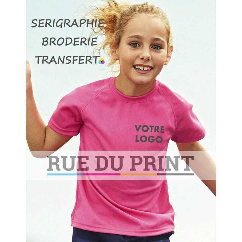Tee-shirt publicité enfant Performance 140 g/m2 100% polyester manches raglan sportives avec surpiqûres