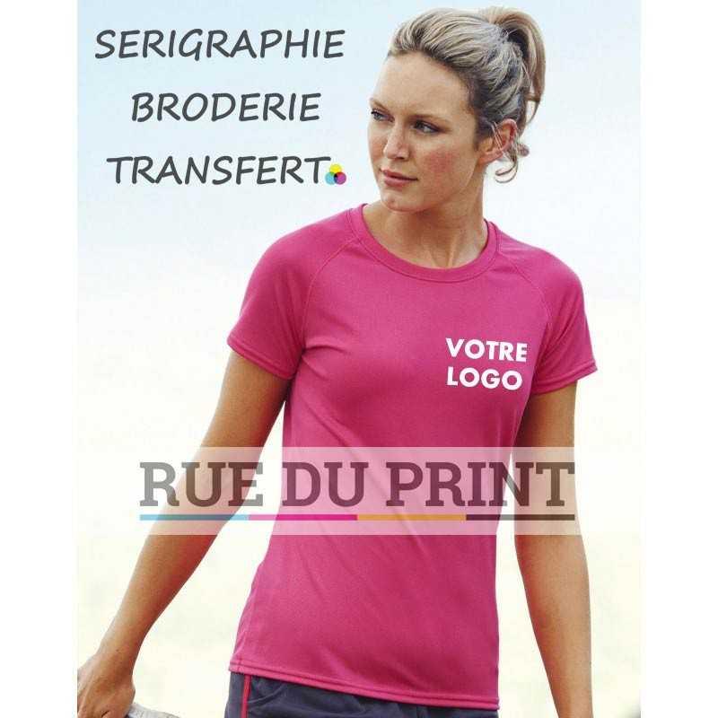 Tee-shirt publicité Fit femme Performance 140 g/m2 100% polyester manches raglan sportives avec surpiqûres