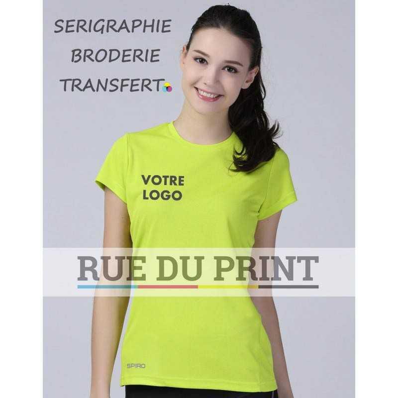Tee-shirt publicitaire femme respirant Performance 160 g/m² 100% polyester matière respirante qui laisse la peau sèche et conf