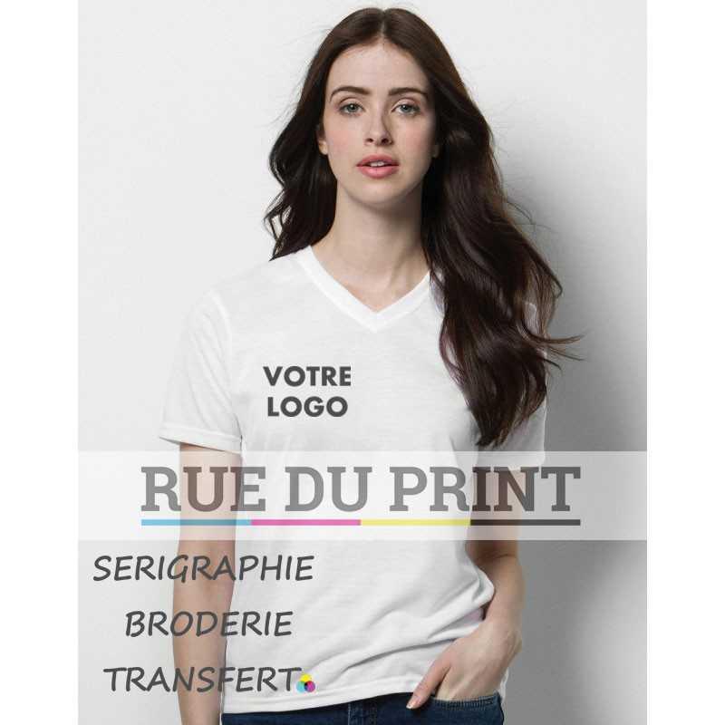 Tee-shirt publicité femme col V Subli Plus 210 g/m2 100% Polyester évacue l'humidité