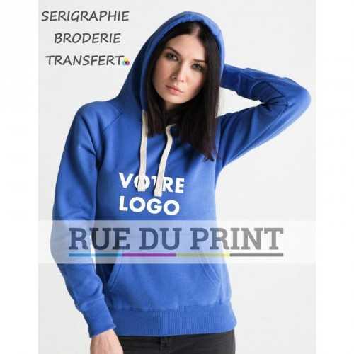 Sweat shirt publicité femme poche kangourou Superstar 330 g/m² 80% coton, 20% polyester surpiqûre au dos de la capuche