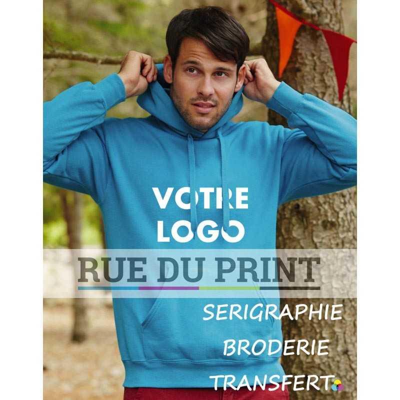 Sweat shirt publicité capuche doublée 280 g/m2 80% coton, 20% polyester manches set-in