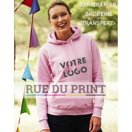 Sweat shirt publicité Fit 280 g/m² 80% coton fil Belcoro®, 20% polyester capuche doublée et cordon de serrage assorti plat
