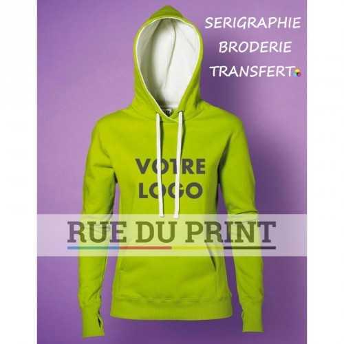 Sweat shirt publicité femme Contraste 280 g/m² 80% coton peigné ringspun coton, 20% polyester (Light Oxford: 70% coton, 30% pol